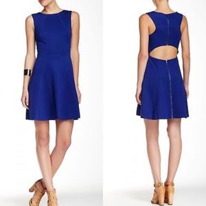 Trina Turk Blue Delphine Fit Flare Cut Out Dress